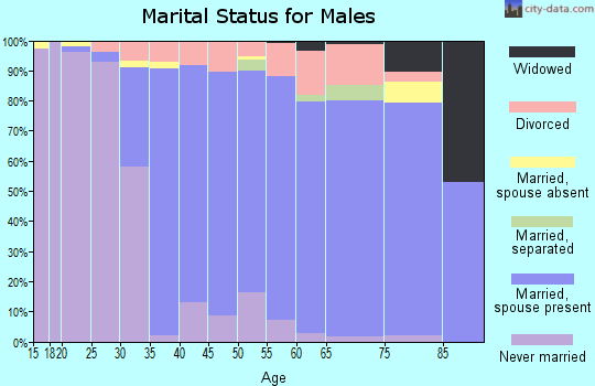 Zip code 02818 marital status for males
