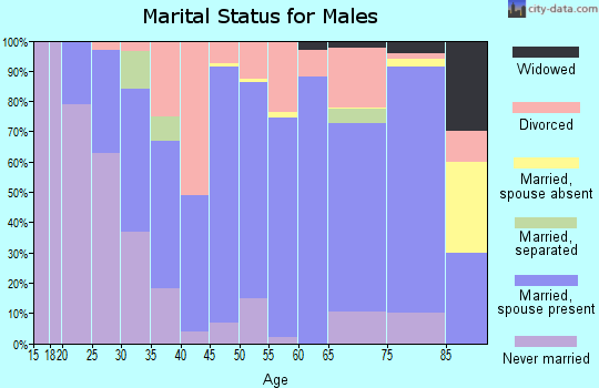 Zip code 03773 marital status for males