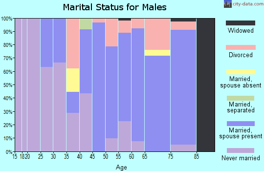 Zip code 05773 marital status for males
