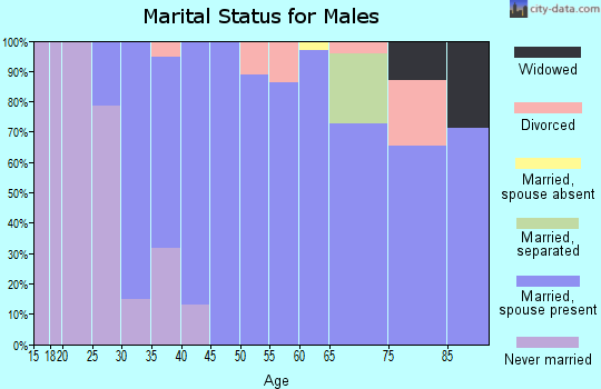 Zip code 05821 marital status for males