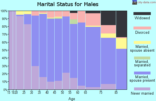 Zip code 06033 marital status for males