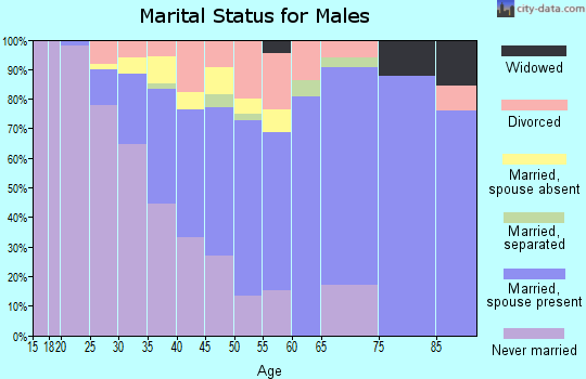 Zip code 06268 marital status for males