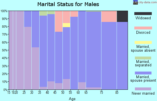 Zip code 06791 marital status for males