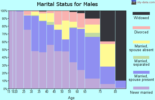 Zip code 07001 marital status for males