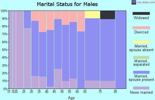 Zip code 07457 marital status for males