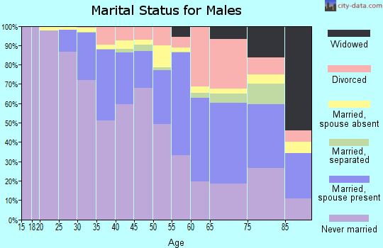 Zip code 10019 marital status for males