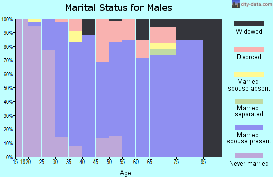 Zip code 14525 marital status for males