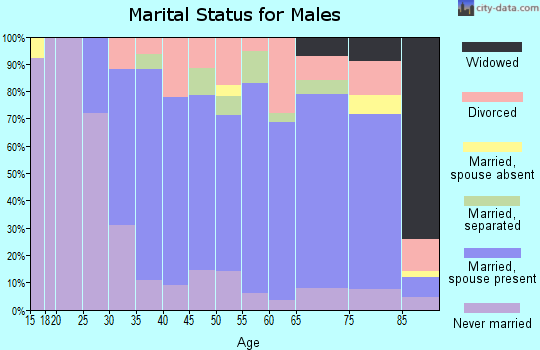 Zip code 15017 marital status for males