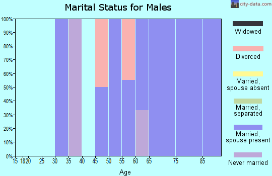 Zip code 15051 marital status for males