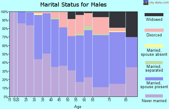 Zip code 15218 marital status for males