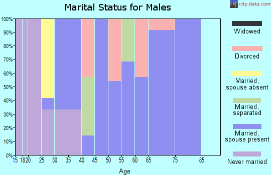 Zip code 16054 marital status for males