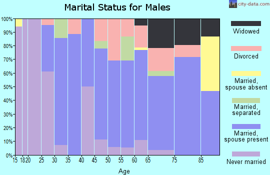 Zip code 16351 marital status for males