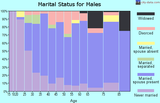 Zip code 16404 marital status for males