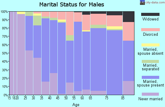 Zip code 16433 marital status for males