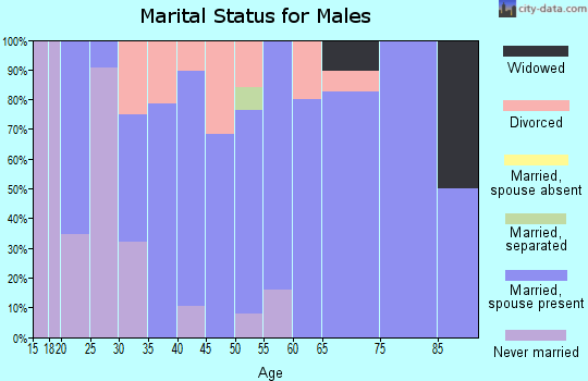 Zip code 16932 marital status for males