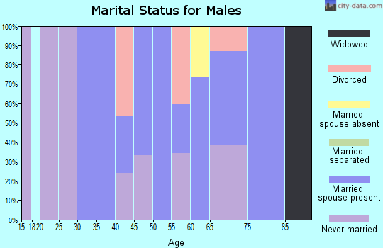Zip code 18231 marital status for males