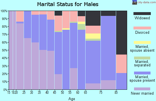 Zip code 18614 marital status for males