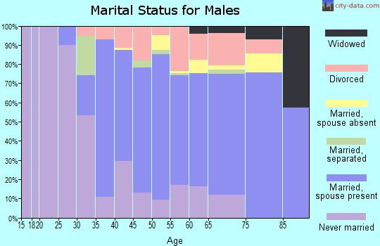Zip code 18972 marital status for males