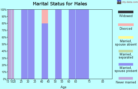 Zip code 21912 marital status for males