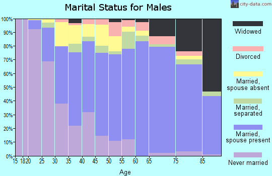 Zip code 22150 marital status for males
