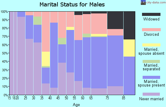 Zip code 25064 marital status for males