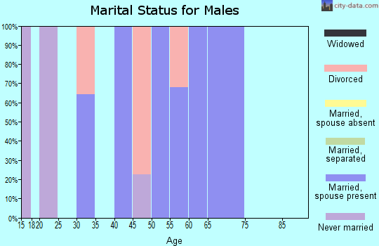 Zip code 25114 marital status for males
