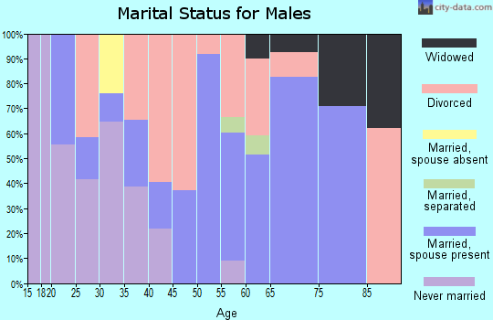 Zip code 25530 marital status for males