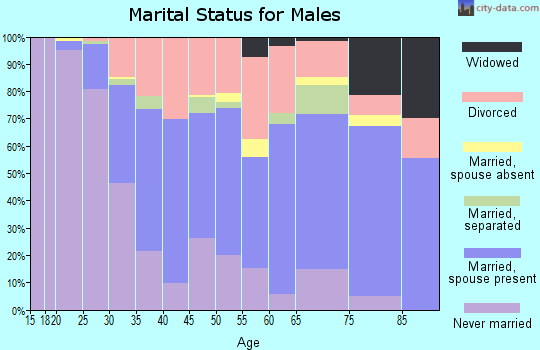 Zip code 25701 marital status for males