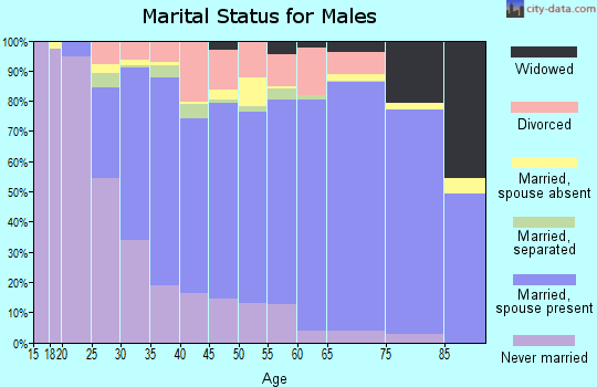 Zip code 27265 marital status for males