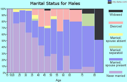Zip code 27409 marital status for males
