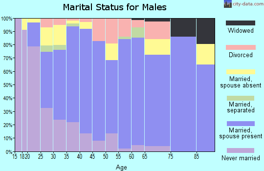 Zip code 27545 marital status for males