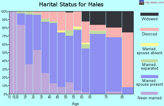 Zip code 27597 marital status for males