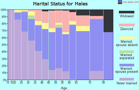 Zip code 32583 marital status for males