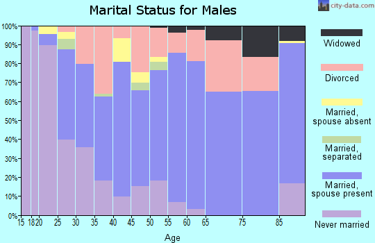 Zip code 32909 marital status for males