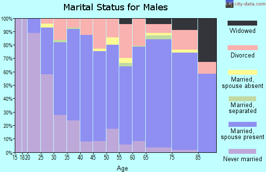 Zip code 32955 marital status for males