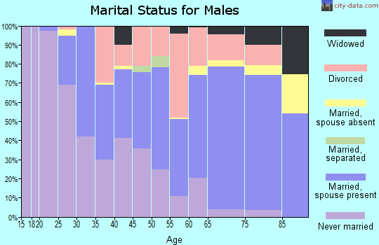 Zip code 33765 marital status for males