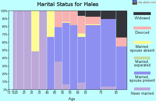 Zip code 34949 marital status for males