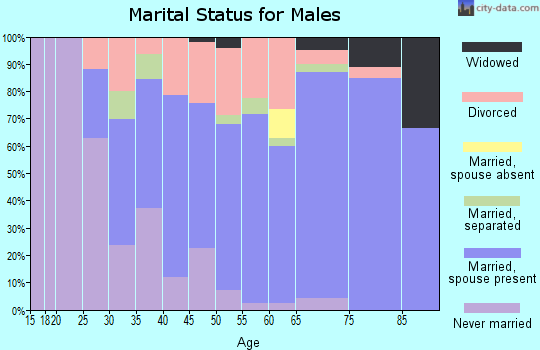 Zip code 34951 marital status for males