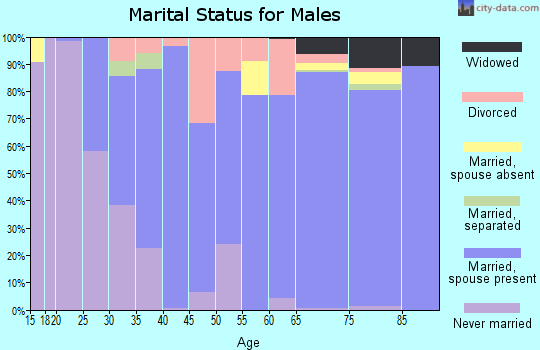 Zip code 34986 marital status for males