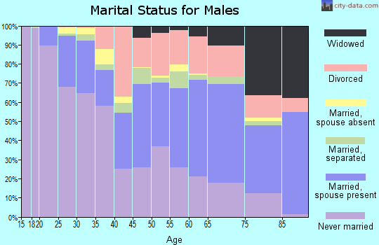 Zip code 35020 marital status for males