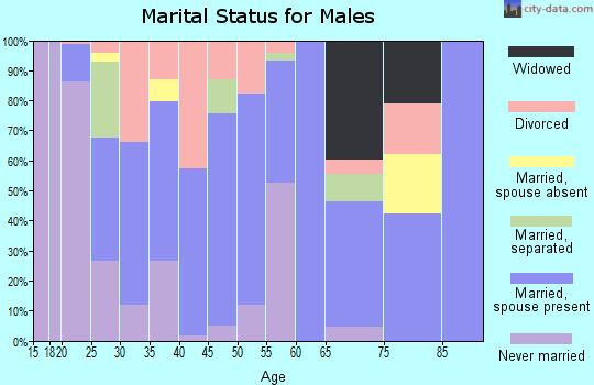 Zip code 35553 marital status for males