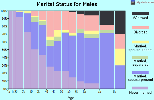 Zip code 35810 marital status for males