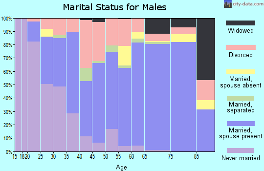 Zip code 36535 marital status for males