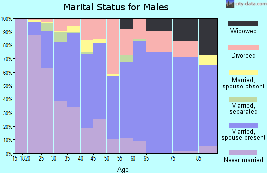 Zip code 37076 marital status for males