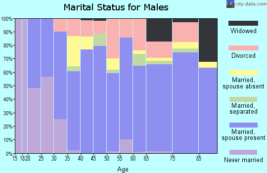 Zip code 37874 marital status for males