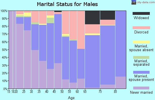 Zip code 37912 marital status for males