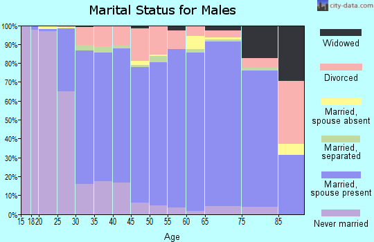 Zip code 38654 marital status for males