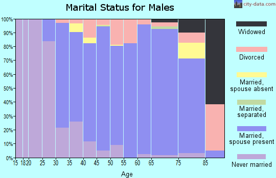 Zip code 40059 marital status for males