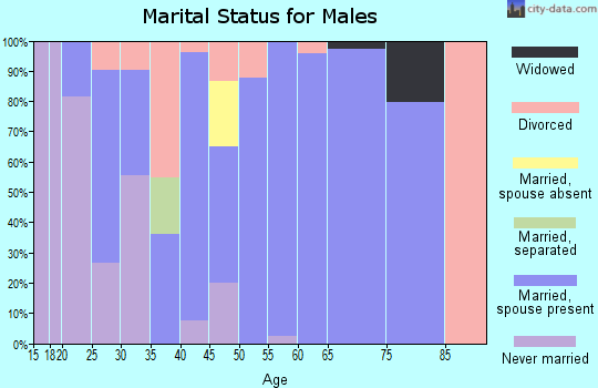 Zip code 42442 marital status for males