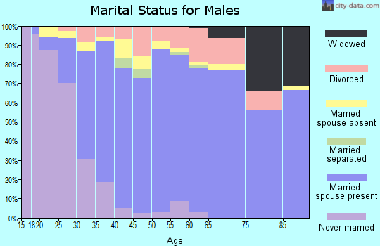 Zip code 43016 marital status for males